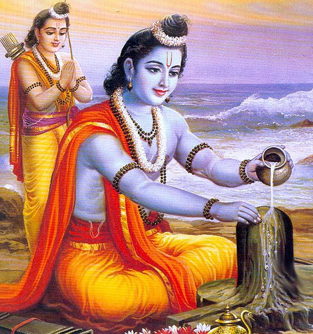 Rama Offering Milk to Shiva Linga